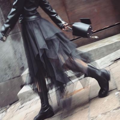 La Belleza素面鬆緊腰不規則蛋糕雪紡網紗裙蓬蓬裙