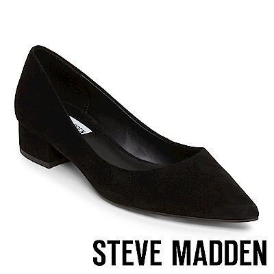 STEVE MADDEN BAIS 真皮尖頭素色中跟鞋-絨黑