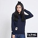 EDWIN 江戶勝簡潔徽章連帽厚T恤-女-丈青