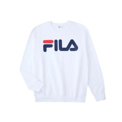 FILA 長袖圓領T恤-白色 1TEU-5510-WT