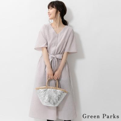 Green Parks 腰際綁帶前扣V領條紋連身洋裝