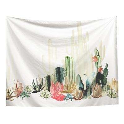 半島良品 北歐風裝飾掛布-植物系列/淺杏仙人掌 150x130cm