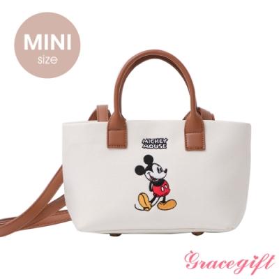Disney collection by grace gift–唐葳設計迪士尼米奇2WAY帆布包Mini 白