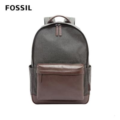 FOSSIL BUCKNER 撞色拼接後真皮後背包-灰/黑 MBG9364001