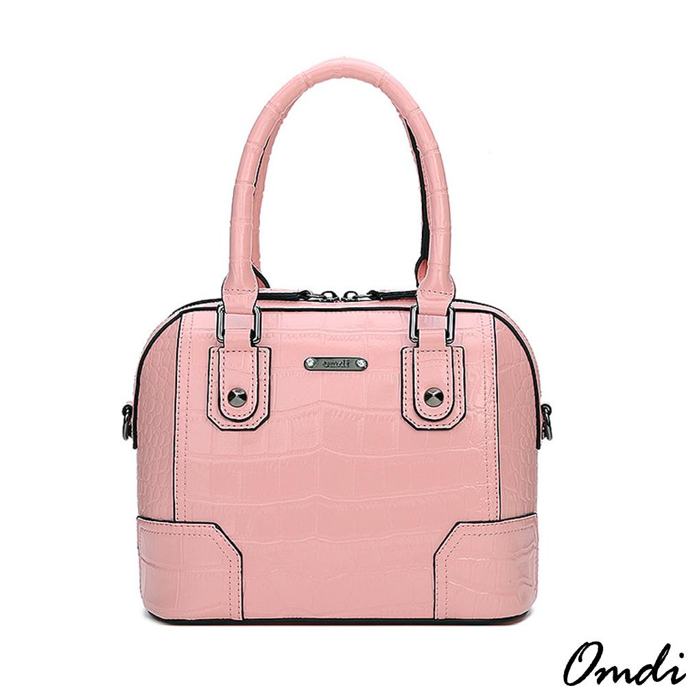 Omdi 摩登輕巧鱷魚手提包(粉色)