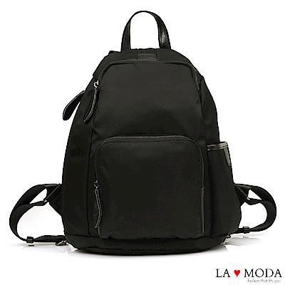 La Moda 出遊首選完全防盜後背拉鍊設計防潑水大容量後背包(黑)