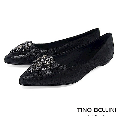 Tino Bellini 巴西進口華麗晶鑽尖楦平底娃娃鞋 _ 黑