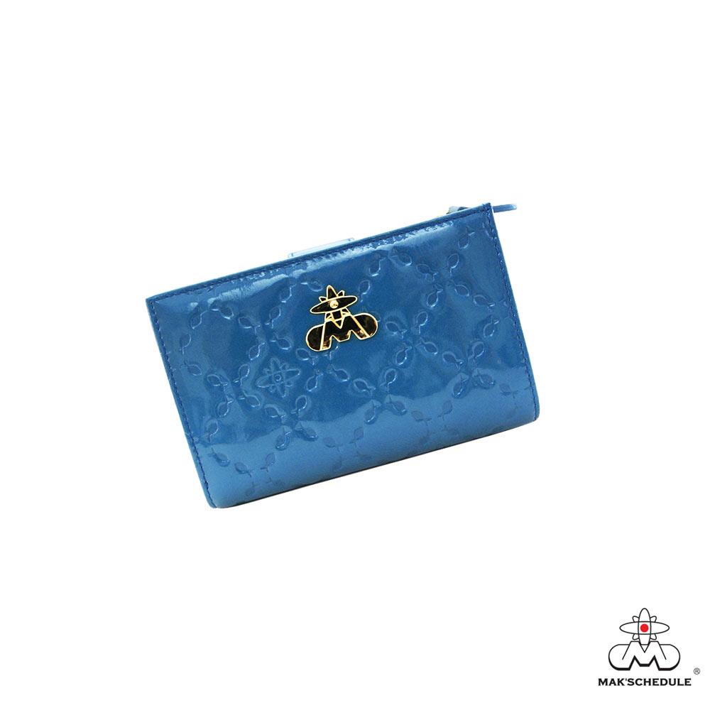 MAK SCHEDULE- 有魚系列2 菱形壓魚紋珍珠牛皮雙層二折式短夾