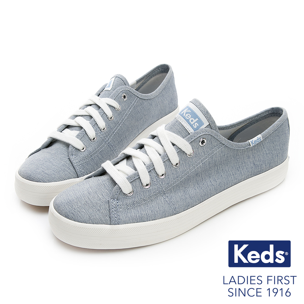 Keds KICKSTART 輕薄素面綁帶休閒鞋-藍