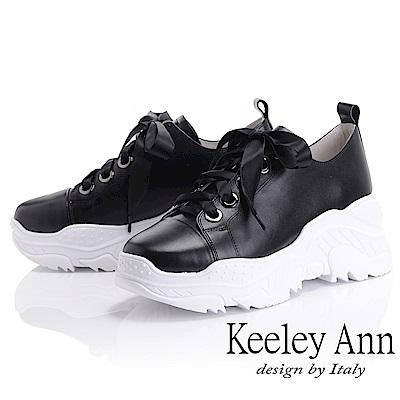 Keeley Ann 經典美型~緞面綁帶全真皮休閒鞋(黑色-Ann)