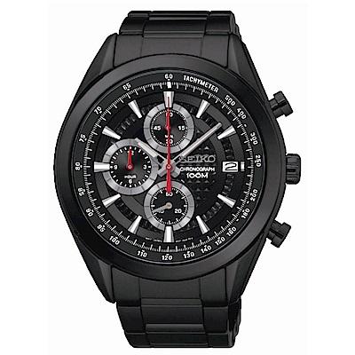 SEIKO CS時尚新美學計時腕錶/黑鋼x黑面/8T67-00A0SD