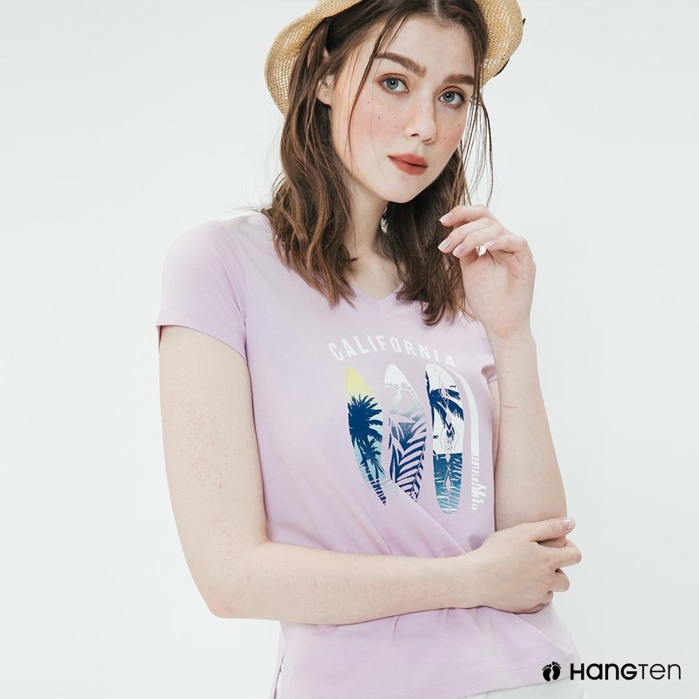 Hang Ten -女裝 - 有機棉-夏日衝浪造型短T - 粉