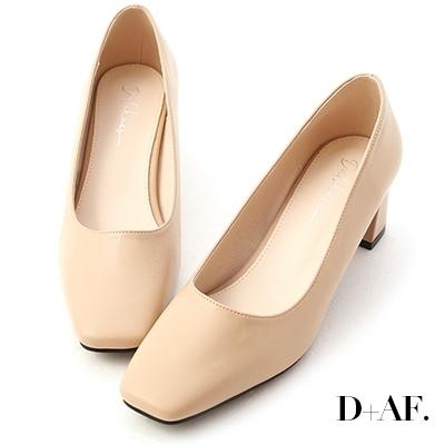 D+AF 輕透春氛.素面方頭中跟鞋*杏