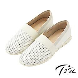 【T2R】真皮手工透氣拼接質感懶人鞋-白