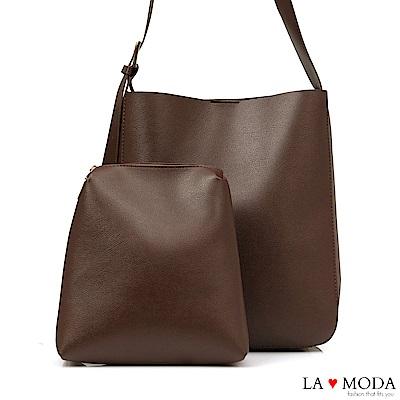 La Moda 質感超熱銷大容量肩背斜背子母包(咖)