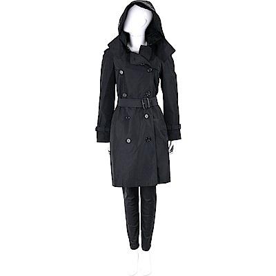 BURBERRY 可拆式連帽塔夫塔綢防雨風衣(女款/黑色)