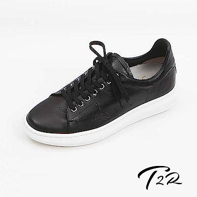 【韓國T2R手工訂製增高鞋】真皮質感傳統綁帶休閒隱形增高鞋-黑