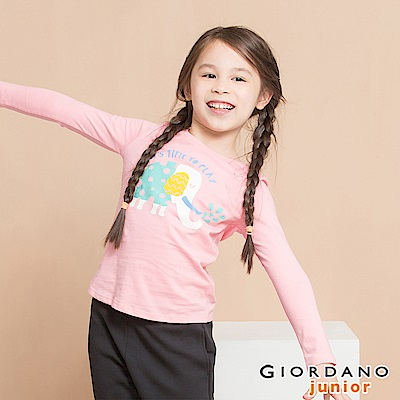 GIORDANO 童裝純棉長袖女孩風印花T恤-31 牡丹紅