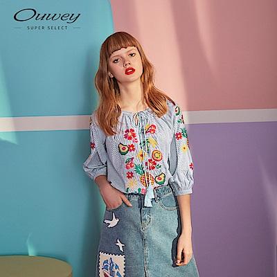 OUWEY歐薇 8Bit系列花果上衣(藍)