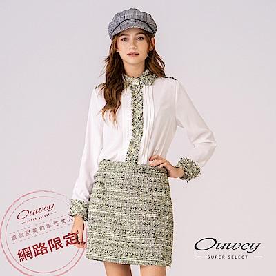 OUWEY歐薇 舒適毛呢拼接剪裁小香風造型兩件式套裝(白)