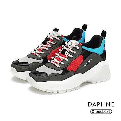 達芙妮DAPHNE 休閒鞋-網布拼接綁帶厚底運動休閒鞋-灰