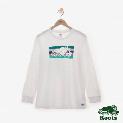 女裝ROOTS - 彩條海狸長袖T恤-白色