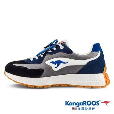 KangaROOS 男 CRAFT 科技 機能 NEWTRO復古潮流 運動鞋(黑灰藍-KM11916)