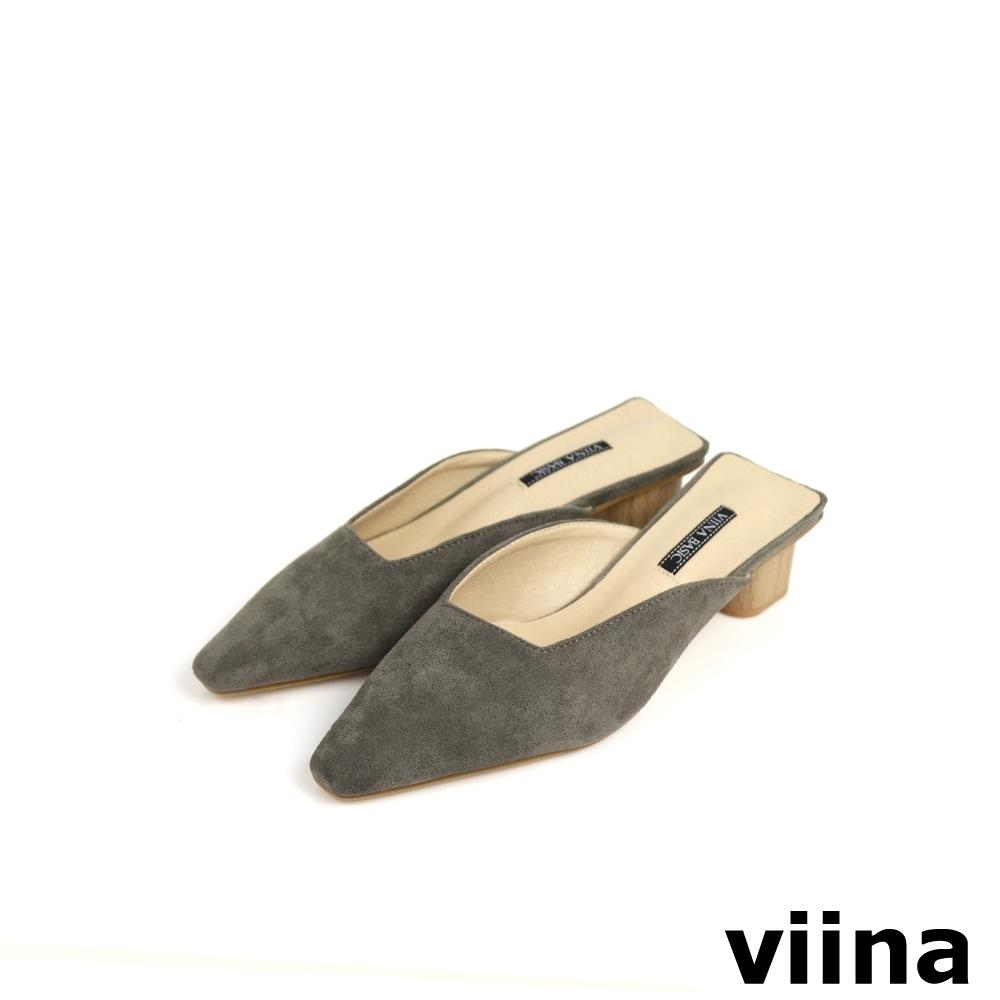 viina Basic 素面尖頭木紋跟型穆勒鞋 - 黑灰