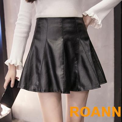百褶高腰短款PU皮短裙 (黑色)-ROANN