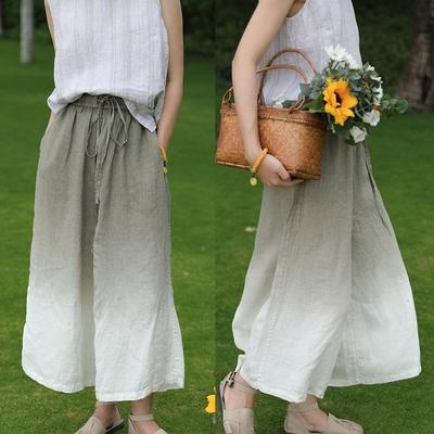手工環保吊染細亞麻寬鬆寬管棉麻休閒褲-設計所在