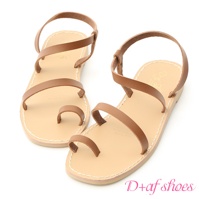 D+AF 簡單美學.一字細帶套指平底涼鞋*棕