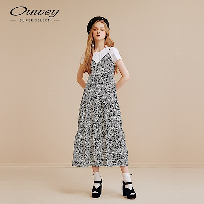 OUWEY歐薇 兩件式點點印花長版洋裝(黑)