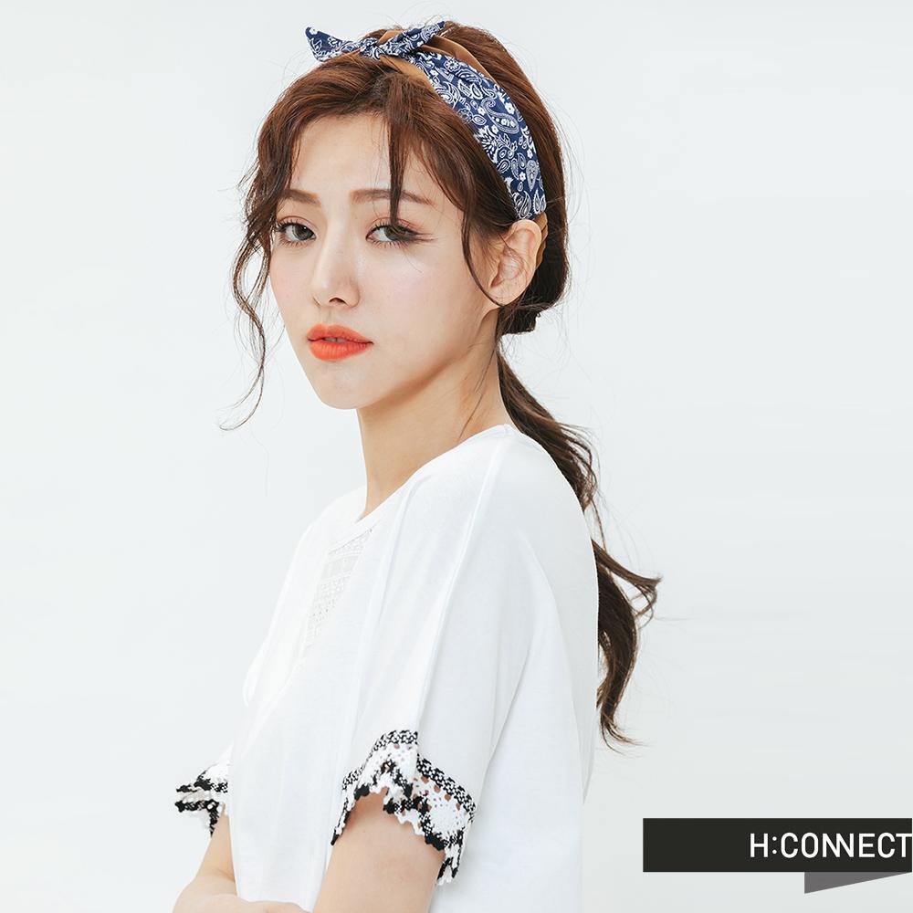H:CONNECT 韓國品牌 -雙色圖騰髮帶-藍