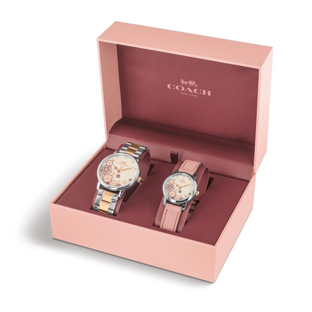 COACH 優雅簡約茶花套組錶/14000060