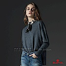 BRAPPERS 女款 小高領側開衩長袖線衫-灰藍