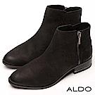 ALDO 原色真皮前高後低筒圍尖頭金屬拉鍊粗跟靴~仿舊墨黑