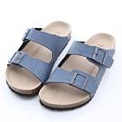 ZUCCA-雙帶輕量皮革休閒拖鞋-藍-z6624be