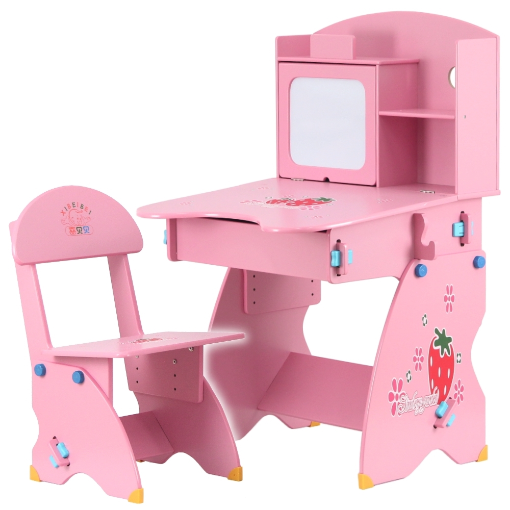 EMC 第二代防夾手木質兒童升降成長書桌椅(粉紅草莓)