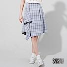 SNS 設計感不對稱剪裁格紋五分裙(2色)