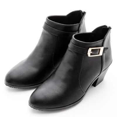 River&Moon短靴-方金扣尖圓楦粗跟短靴-黑