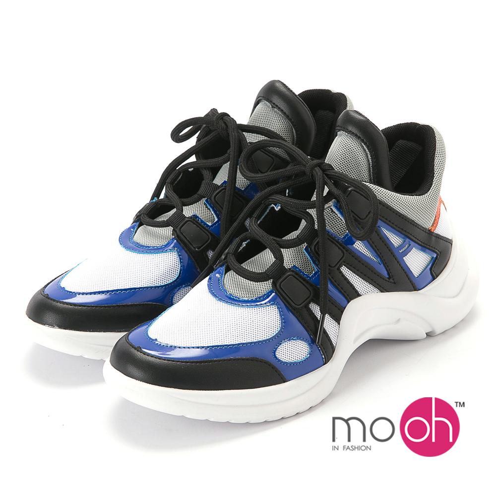 mo.oh-透氣網布厚底運動鞋老爹鞋-深藍色