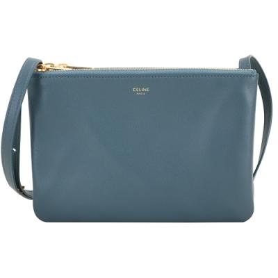 CELINE TRIO 小款經典小羊皮斜背包 (瓦灰藍)