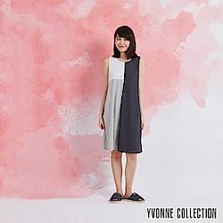 YVONNE 色塊拼接無袖洋裝-灰