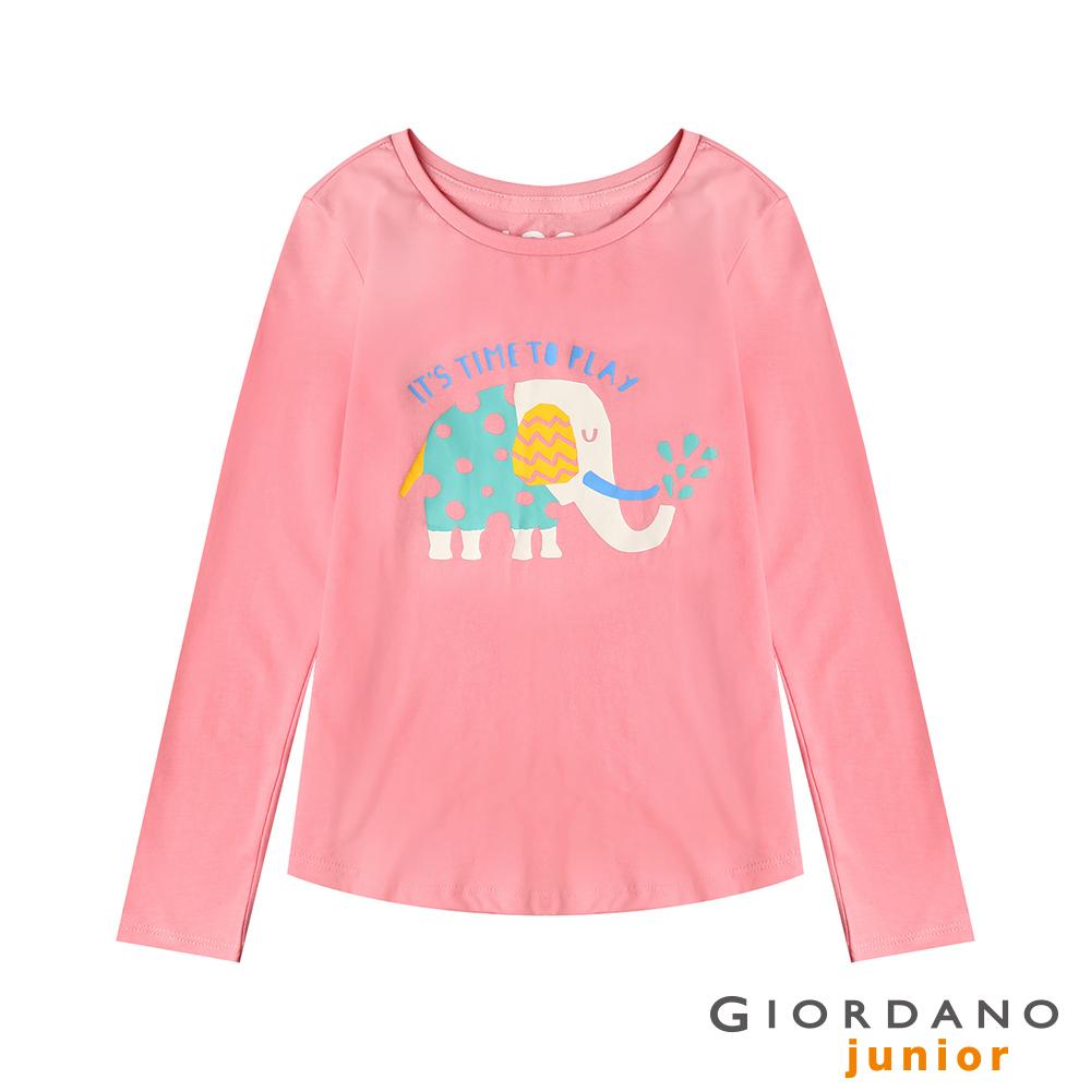 GIORDANO 童裝純棉長袖女孩風印花T恤-52 牡丹 @ Y!購物