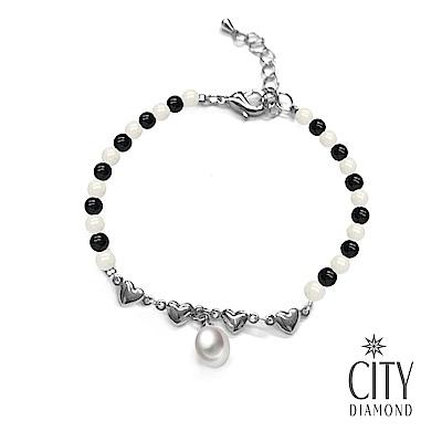 City Diamond引雅 【手作設計系列 】天然水滴珍珠黑白瑪瑙愛心手鍊
