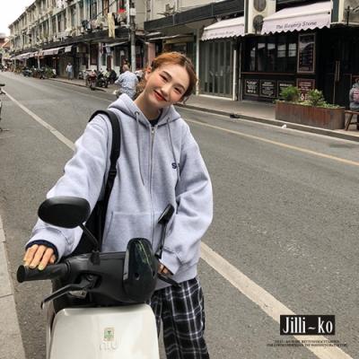 JILLI-KO 韓版BF寬鬆慵懶風刷毛連帽外套- 灰色