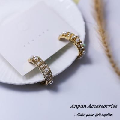 【Anpan 愛扮】韓東大門復古宮廷巴洛克珍珠C型鏤空925銀針耳釘式