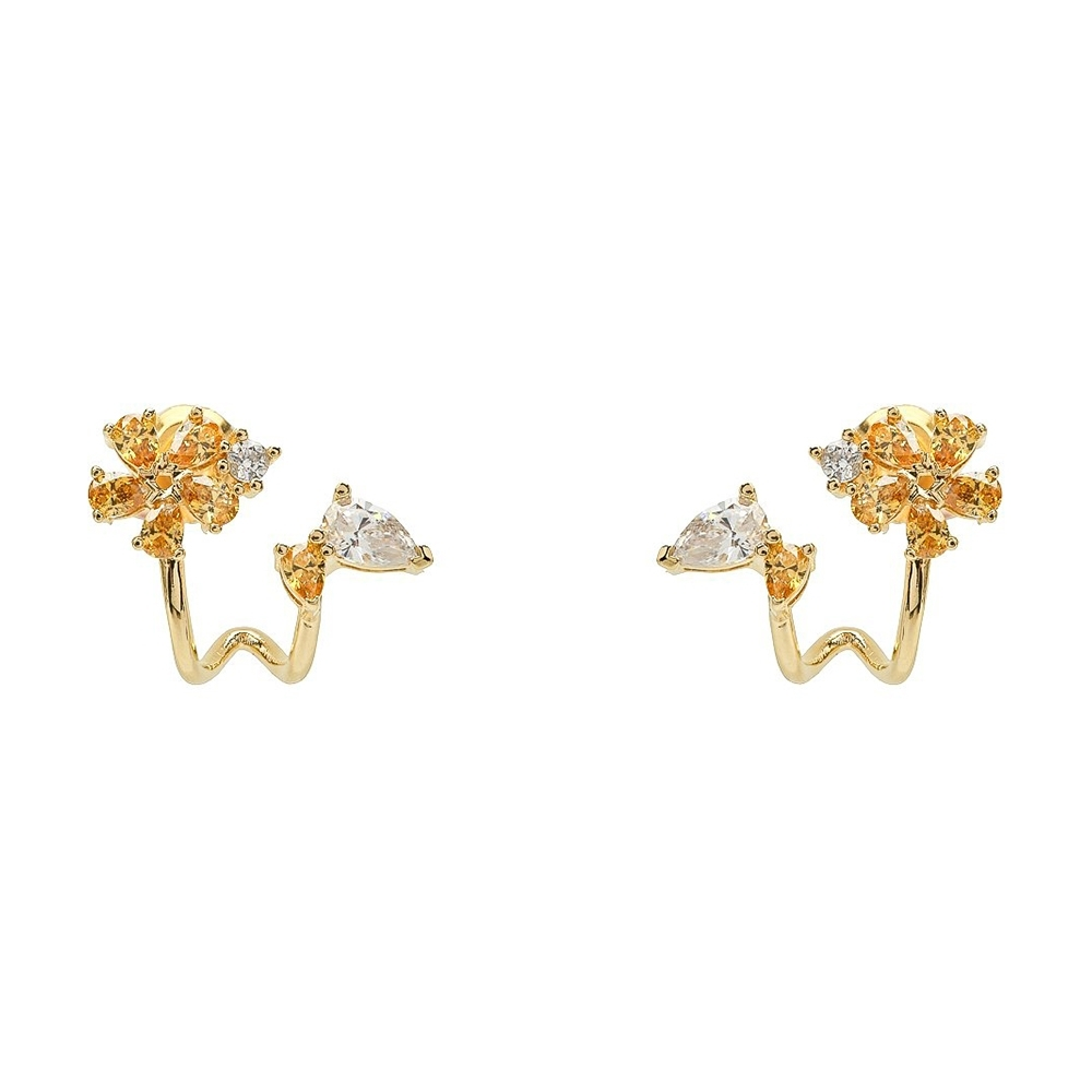 SWAROVSKI 施華洛世奇 Botanical璀璨黃水晶花朵造型金色耳環