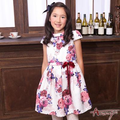 Annys奢華公主凡爾賽玫瑰印花洋裝*6222白