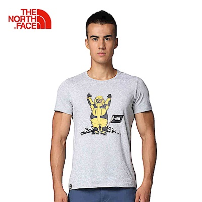 The North Face北面男款灰色圓領印花短袖T恤